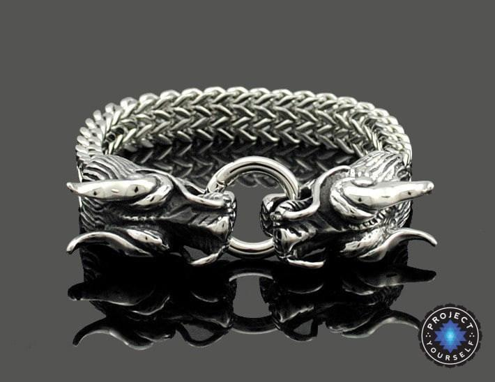 Cool Stainless Steel Double Dragon Snake Chain Bracelet