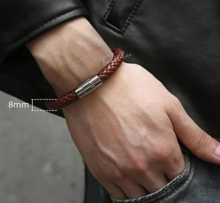 Leather Bracelets 8mm Brown LB725 / 9inch 23cm Mens Leather Bracelets Braided