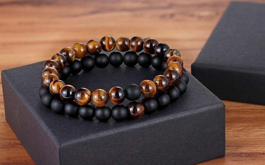 Stone Beaded Bracelet Set Onyx/Tigereye/White
