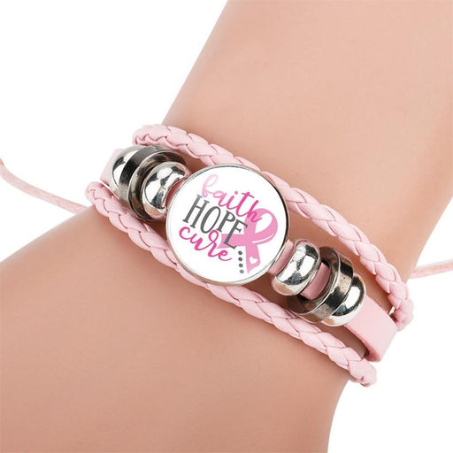 Love,faith,believe and Breast Cancer Awareness Bracelet