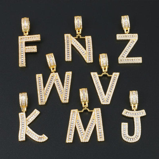 Initials Pendant Necklace- Gold Iced Out Baguette Letters