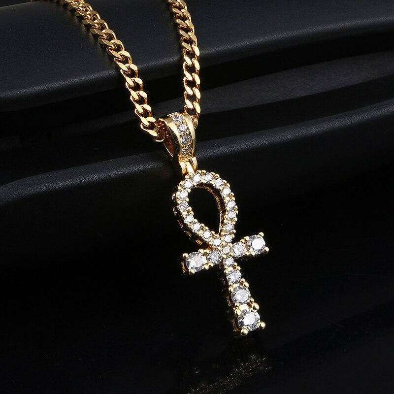 Crucifix Pendant Necklace- Hip Hop Iced Out Ankh Cross