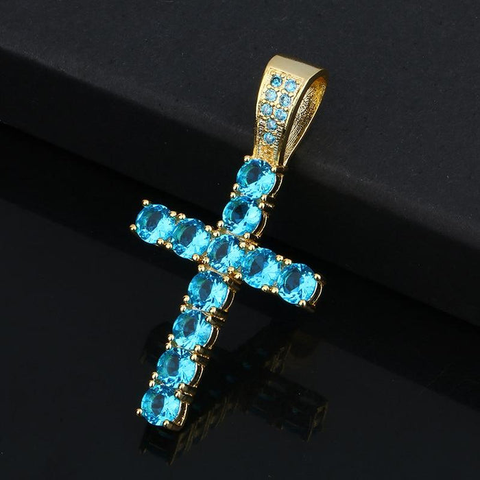 Hip Hop Cross Necklace- Iced Out Crystal With Blue Pendant