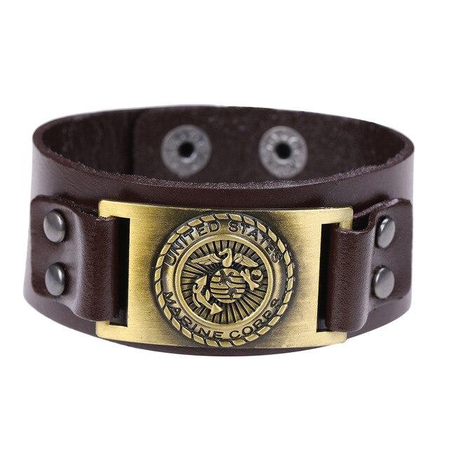 Leather US Marine Corps Charm Bracelet.