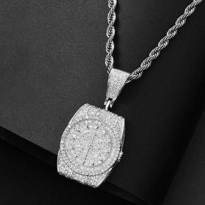Bling Iced Out Watch Shape Pendant Necklace