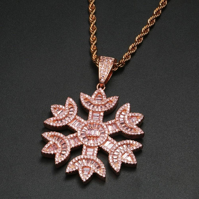 Iced Out Snow Pendant Necklace- Baguette Crystal Hip Hop Charm