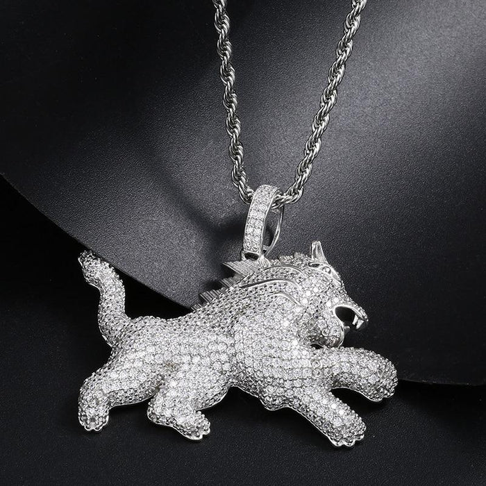 Iced Out Lion Pendant Necklace- Men's Hip Hop