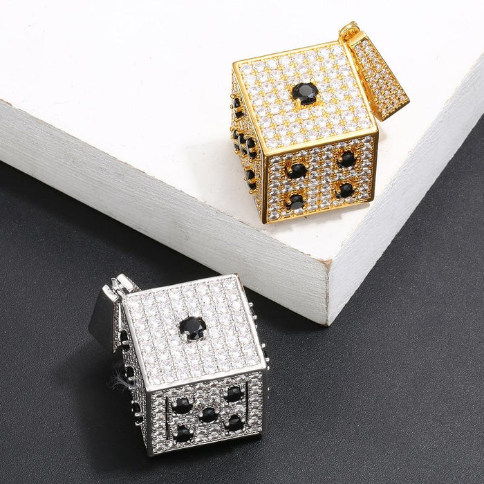 Hip Hop Ice Out Square Dice Pendant Necklace