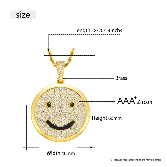 Hip Hop Full Of Crystal Smiley Pendant Necklace