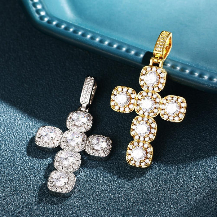 Cross Crystal Pendants Necklace- Men's Hip Hop Jewelry
