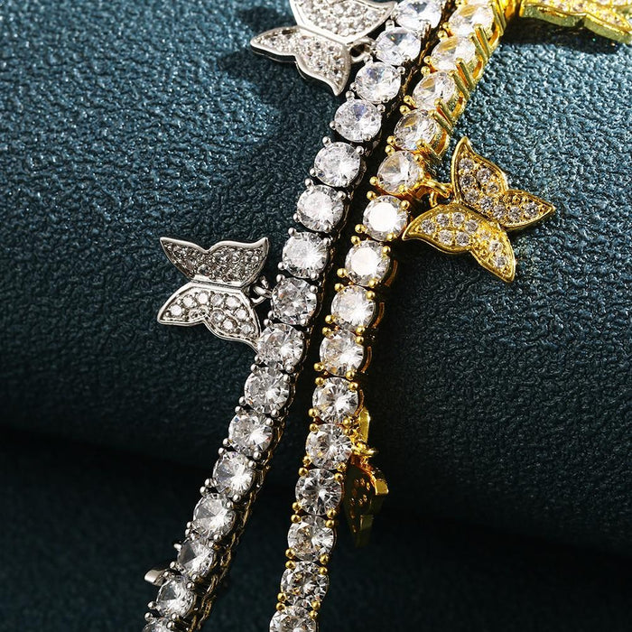 4mm CZ Tennis Chain With Luxury Drip CZ Butterfly
