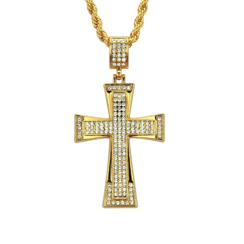 Hip Hop Zircon Cross Pendant Necklace