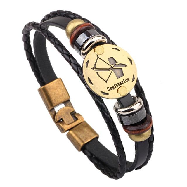 Multi-Layer 12 Zodiac Signs Constellation Leather Bracelet