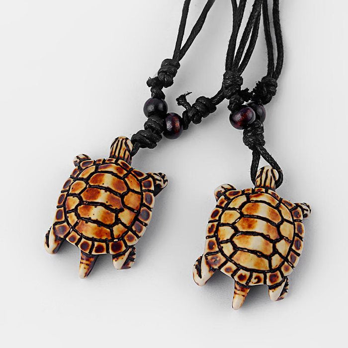 Mixed Styles Ethnic Tribal Faux Yak Bone Sea Turtle Pendants Necklace