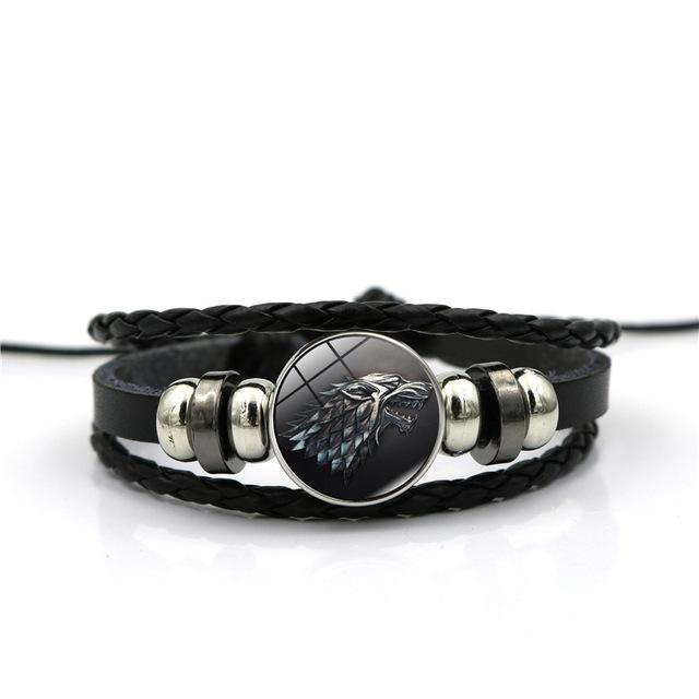 Game of Thrones House of Stark Wolf Cabochon Leather Bracelet