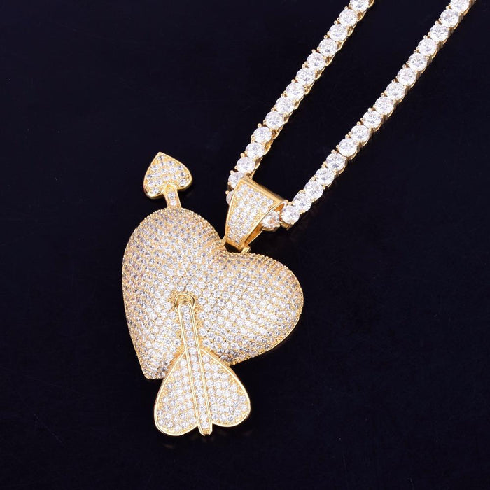 Iced Out Crystal Arrow Heart Pendant Necklace