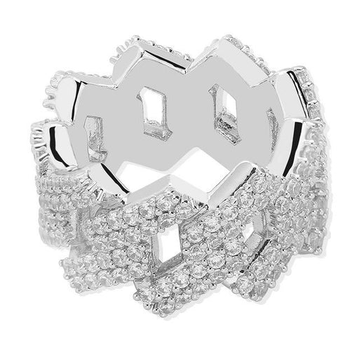 Hip Hop Ring Zirconia Ice Out Cuban Link Chain