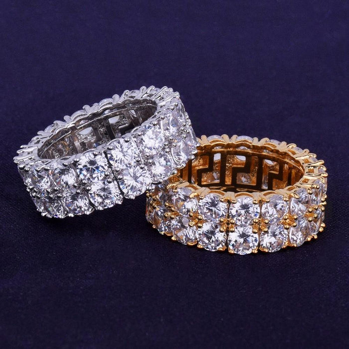 Hip Hop Ring-Two Row Solitaire Cubic Zircon Iced Ring