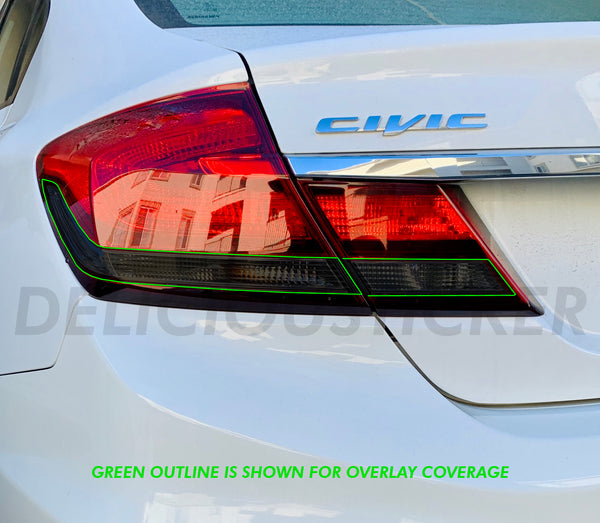 Smoked Tail Light Inner Overlays (Fits For: 2013-2015 Honda Civic Sedan)