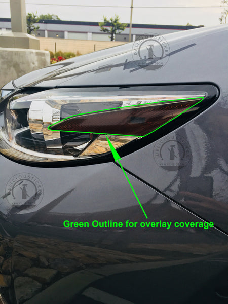 Smoked Front Headlight Reflector Portion Overlay (Fits For: 2016-2018 Lexus ES)