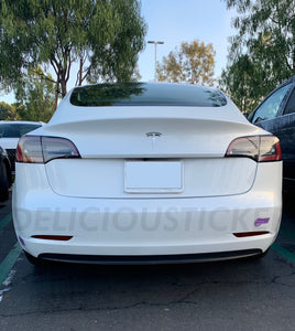 Smoked Rear Bumper Reflectors Overlays (Fits For: Tesla Model 3)