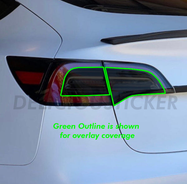 Smoked Tail Light Insert Overlays (Fits For: Tesla Model 3)