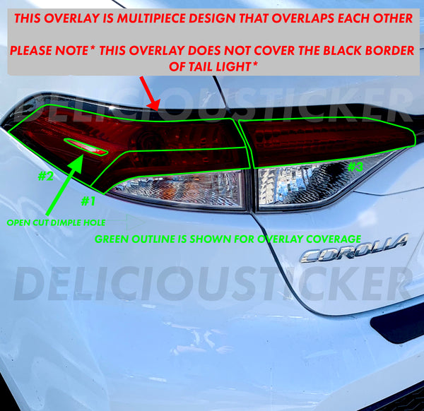 Smoked Tail Light Overlays (Fits For: 2020 + Corolla Sedan)