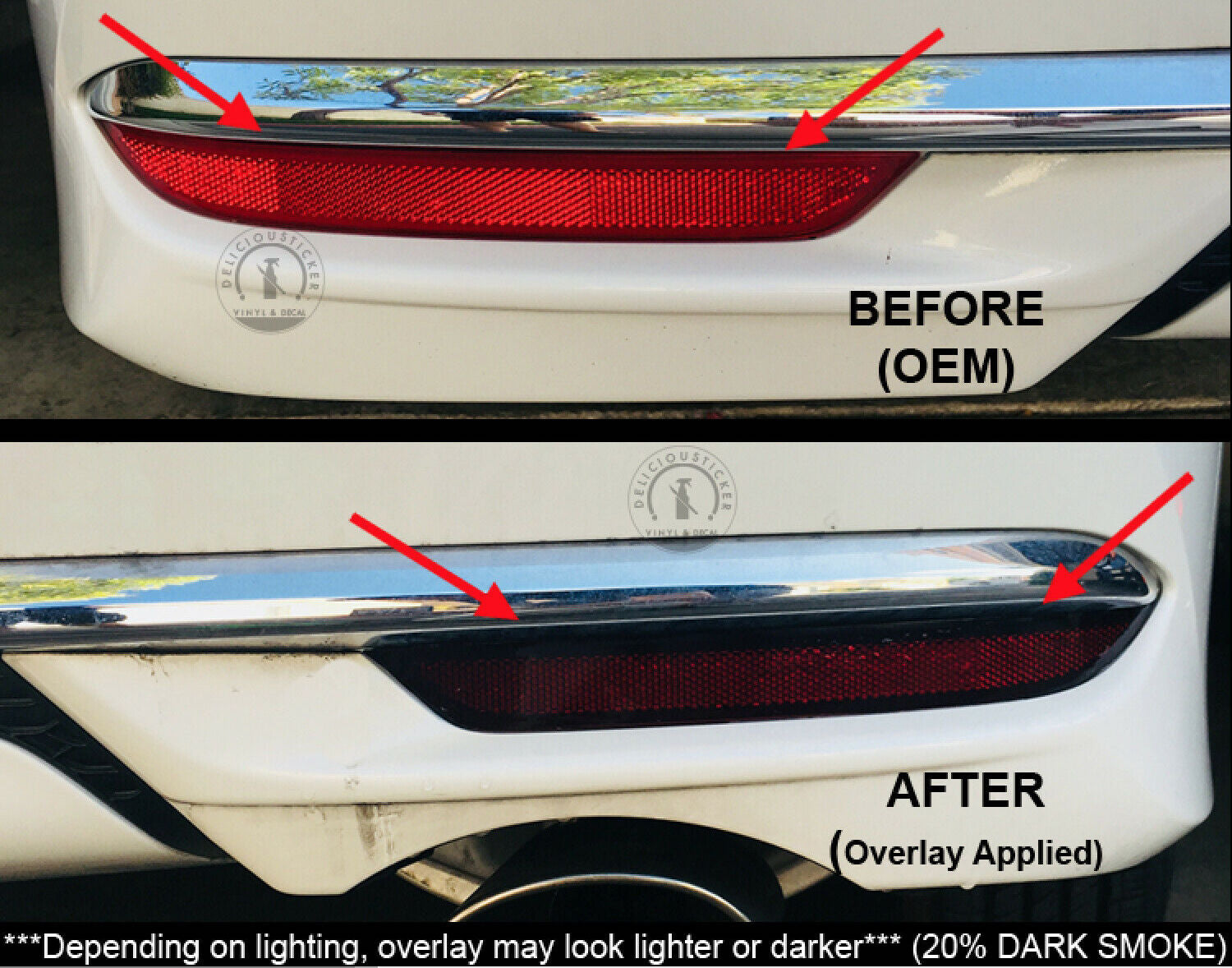 Smoked Rear Bumper Reflectors Insert Overlays (Fits For: 2016-2017 Honda Accord)