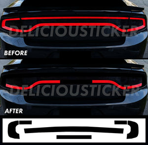 Black RaceTrack Tail Light Decal Overlays STYLE K (Fits For: 2015-2021 Dodge Charger)