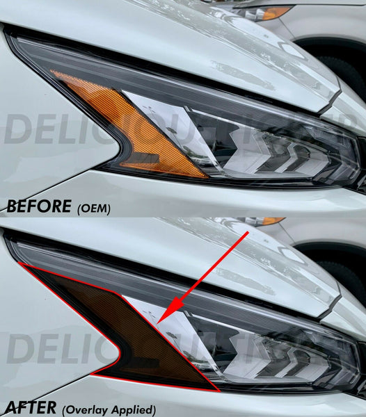 Smoked Amber Section Headlight Overlays (Fits For: 2019 + Altima)