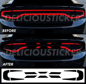 Black RaceTrack Tail Light Decal Overlays STYLE L (Fits For: 2015-2021 Dodge Charger)