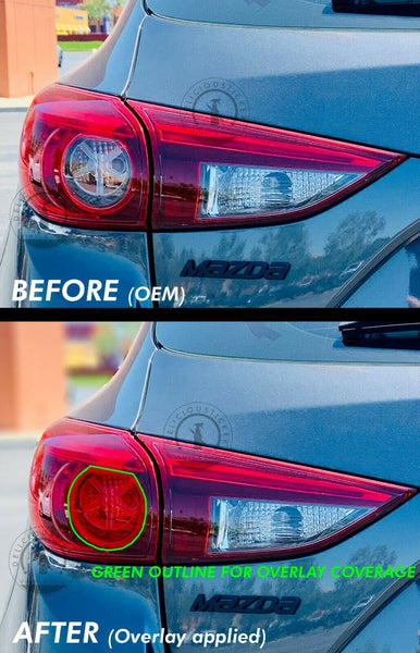 Red Indicator Tail Light Overlays (Fits For: 2013-2018 Mazda 3 Hatchback)