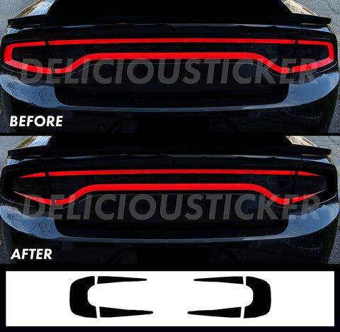 Black RaceTrack Tail Light Decal Overlays STYLE A (Fits For: 2015-2021 Dodge Charger)