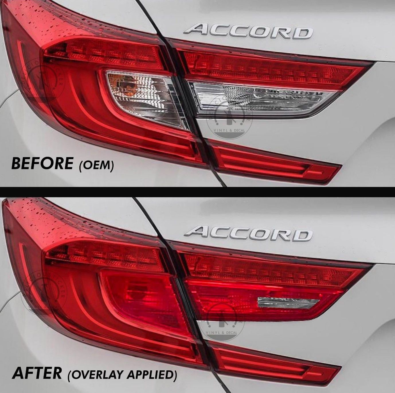 Red Tail Light Insert Overlays EURO EDITION (Fits For: 2018+ Honda Accord)