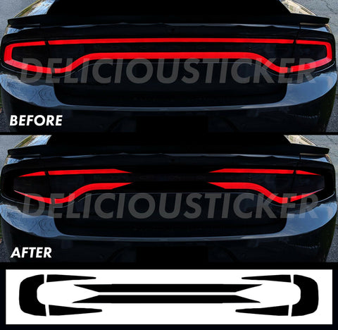Black RaceTrack Tail Light Decal Overlays STYLE B (Fits For: 2015-2021 Dodge Charger)