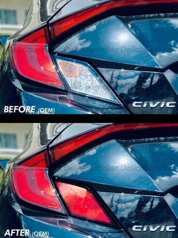 Red Tail Light Insert Overlays (Fits For: 2016-2019 Honda Civic Coupe)