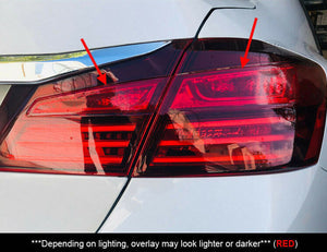 Red Tail Light Insert Overlays Full RED (Fits For: 2016-2017 Honda Accord)