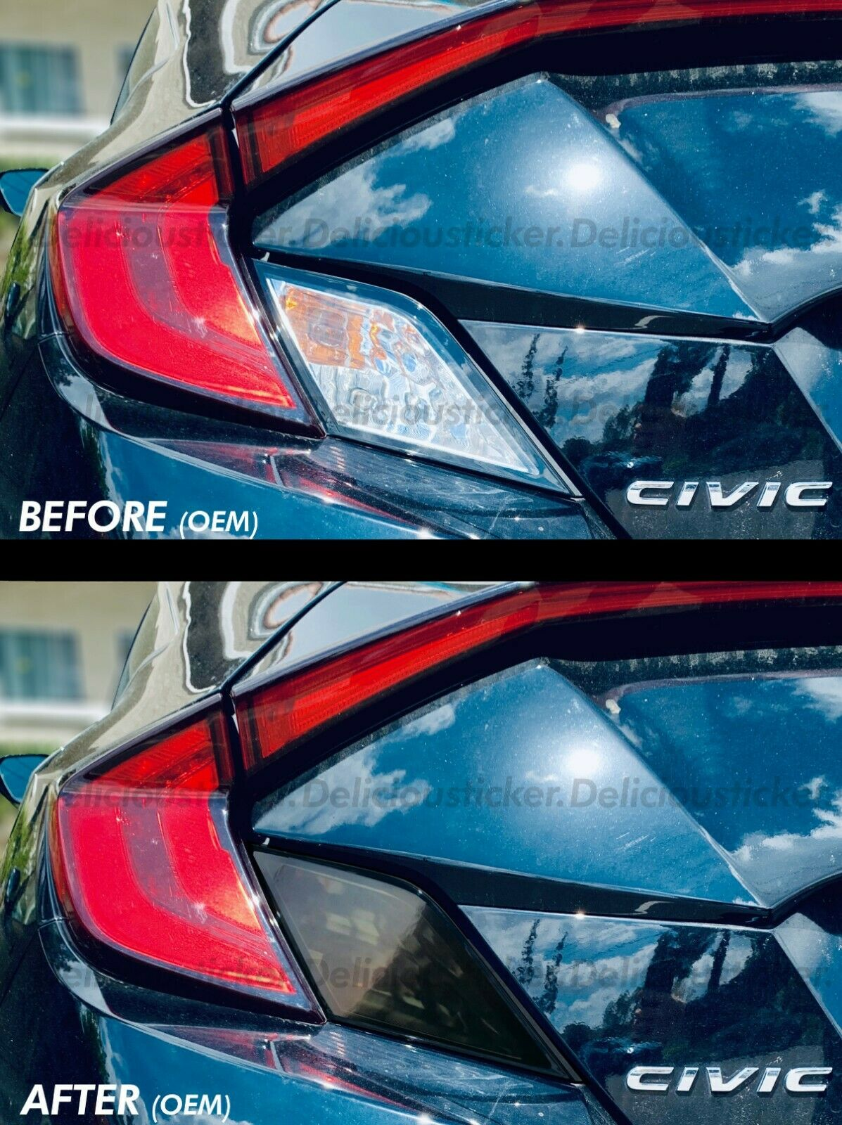 Smoked Tail Light Insert Overlays (Fits For: 2016-2019 Honda Civic Coupe)