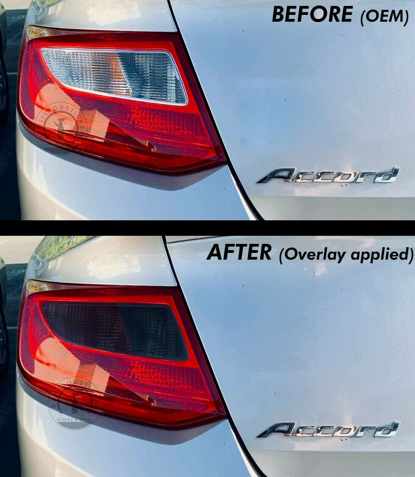 Smoked Tail Light Inner Overlays (Fits For: 2013-2015 Accord Coupe)