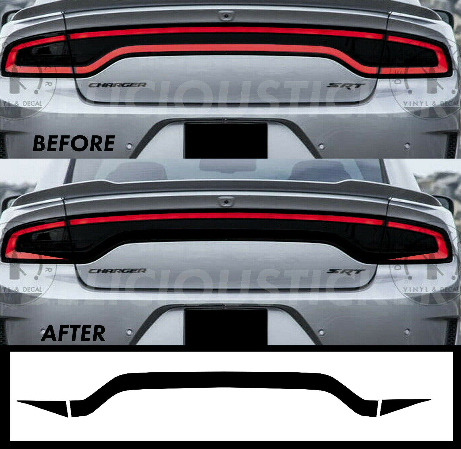 Black RaceTrack Tail Light Decal Overlays STYLE G (Fits For: 2015-2021 Dodge Charger)