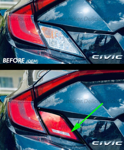 EURO Spec Red Tail Light Insert Overlays (Fits For: 2016-2019 Honda Civic Coupe)