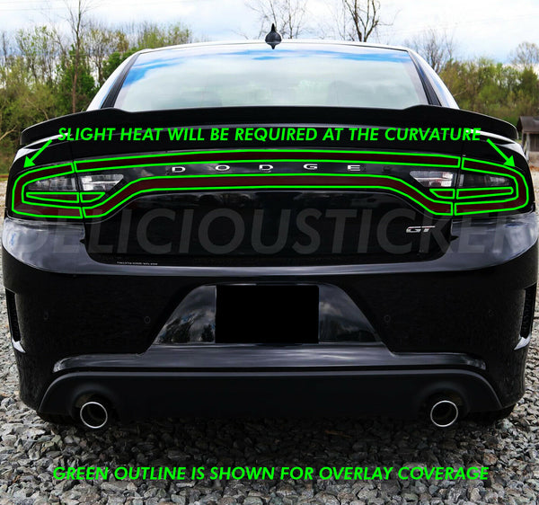 Smoked Tail Light Race Track Overlays (Fits For: 2015-2020 Dodge Charger)