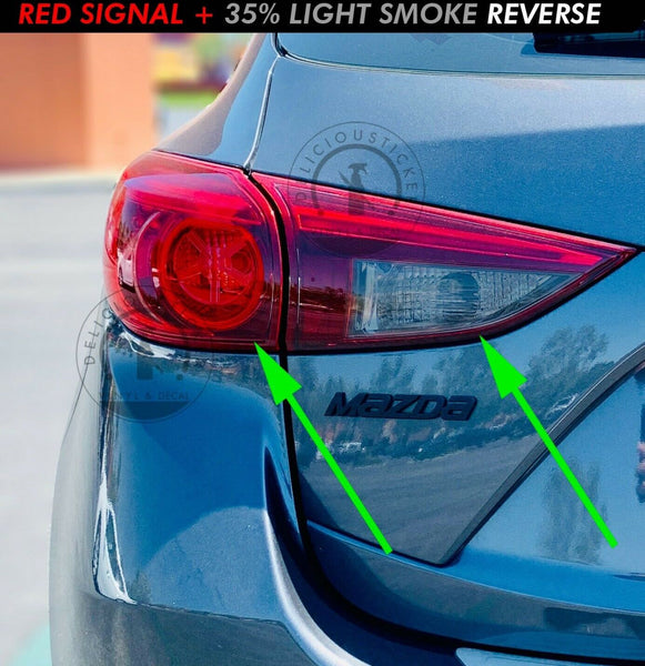 Red/Smoked Tail Light Inner Overlays (Fits For: 2013-2018 Mazda 3 Hatchback)