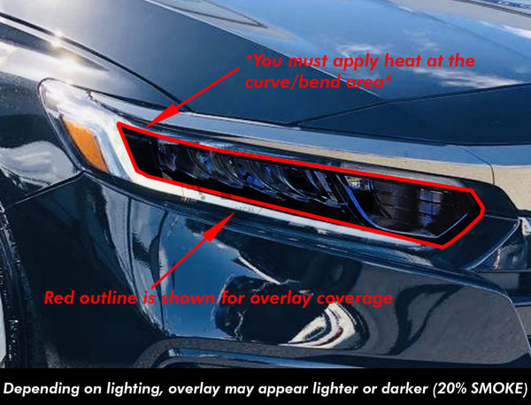 Smoked Front Head Light HIGH + LOW BEAM Section Insert (Fits For: 2018 + Honda Accord)