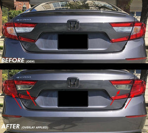 Red Signal / Blinker + Light Smoke Reverse Insert Tail Light Overlay (Fits For: 2018+ Honda Accord)
