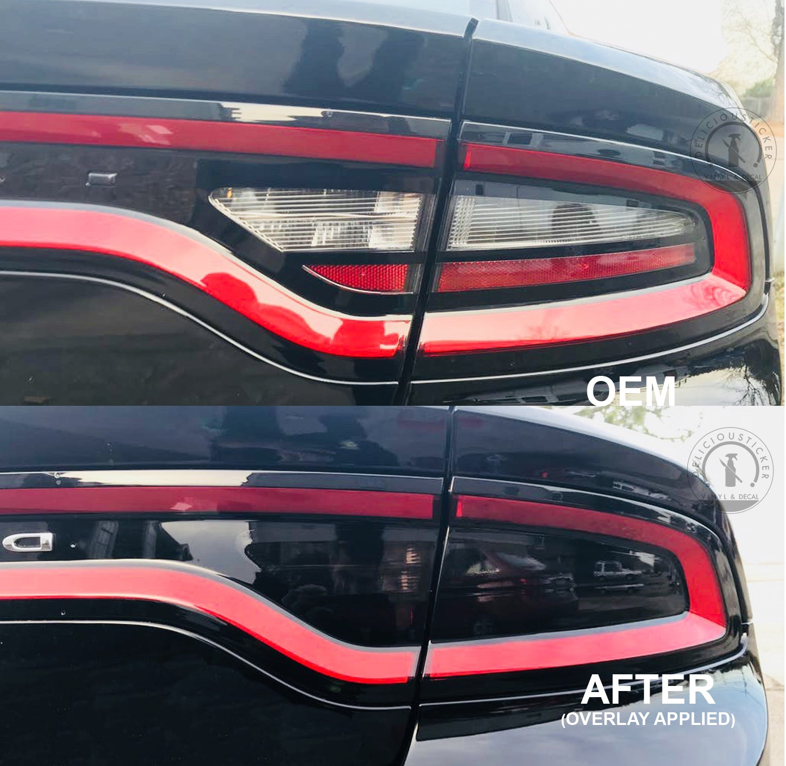 Smoked Tail Light Inner Overlays (Fits For: 2015-2020 Dodge Charger)
