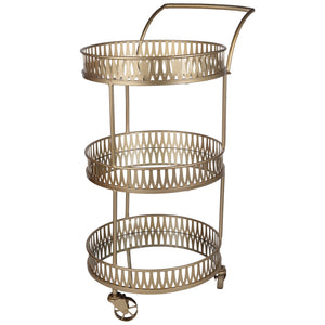 Urban Vogue Round Bar Cart. Gold