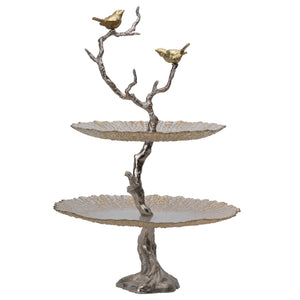 Iron Branch 2-Tiered glass tray. Gold