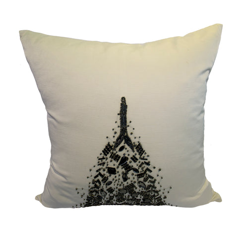 Pillow (Beaded White Square Pillow - C-108)