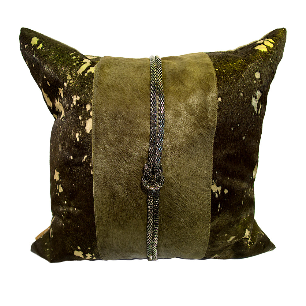 Pillow (Square Brown Leather Pillow - C-110)